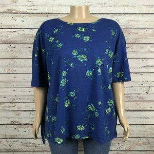 Woman Within Boat Neck Blue Floral Shirt Top PLUS